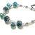 Teal crystal bracelet - blue green beaded bracelet, silver and aqua beads, 7 1/2