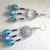 Blue carved glass chandelier earrings, long boho gypsy design ethnic statement