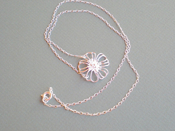 Silver flower necklace, floral filigree charm design, modern blossom jewelry,