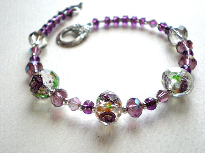 Lavender bead bracelet - lilac glass flower beads with gold, crystals & seed