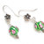 Green lamp work earrings, floral glass bead pink flower design women's fashion