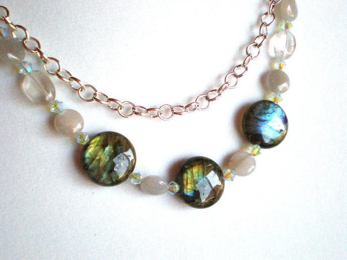 Labradorite and moonstone necklace, two strand coin & swarovski crystal jewelry,