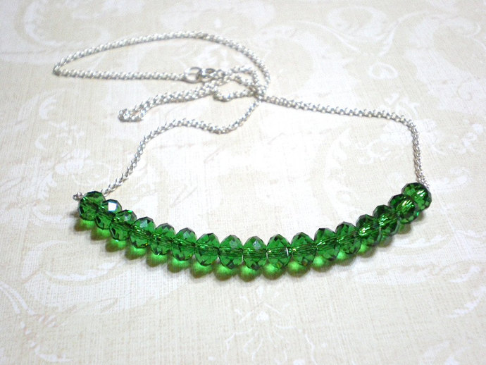 "Green crystal necklace, Swarovski crystals & sterling silver 17"" necklace,"