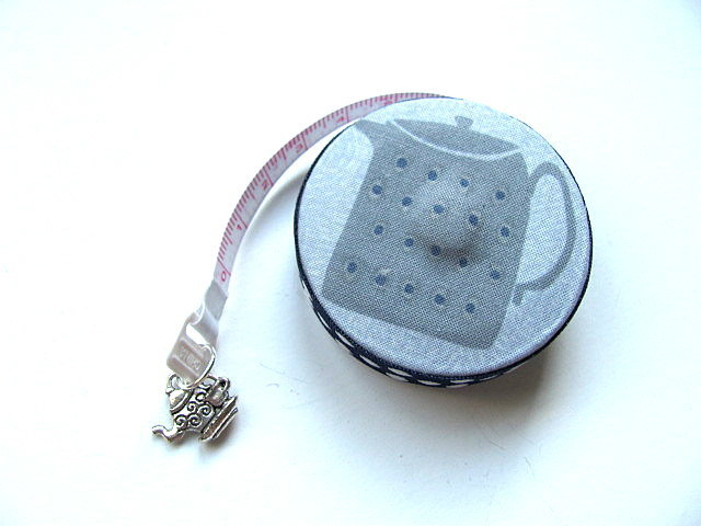 Tape Measure Gray and Blue Teapots Retractable Tape Measure