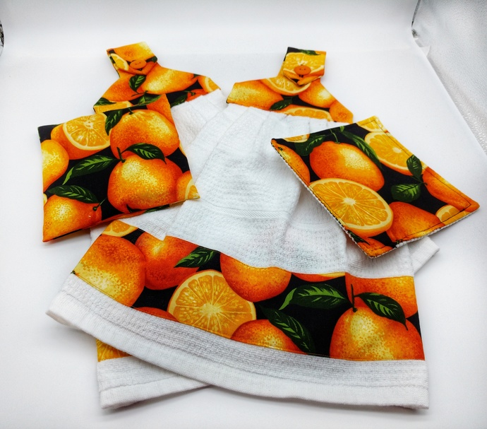 Citrus Decorative Hanging Towels, Jar Opener, Trivet for Hot Dishes,