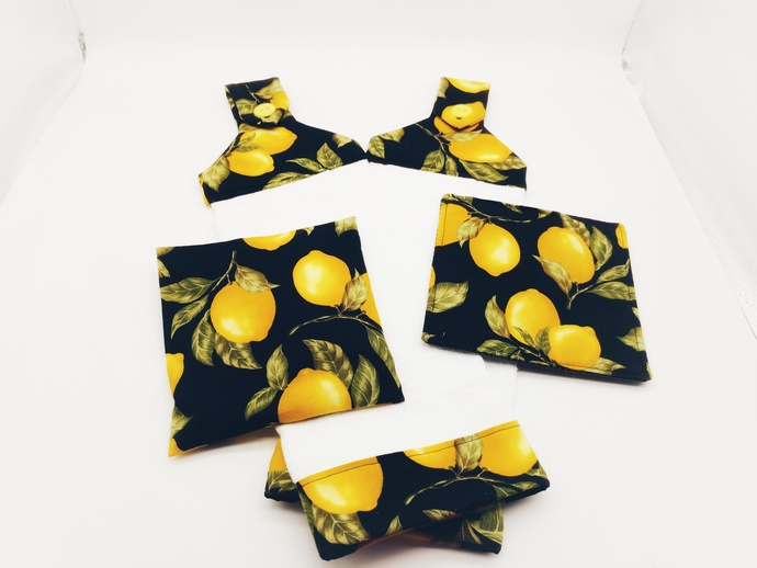 Black and Yellow Lemon Hanging Towels with Jar Gripper and Trivet for Hot