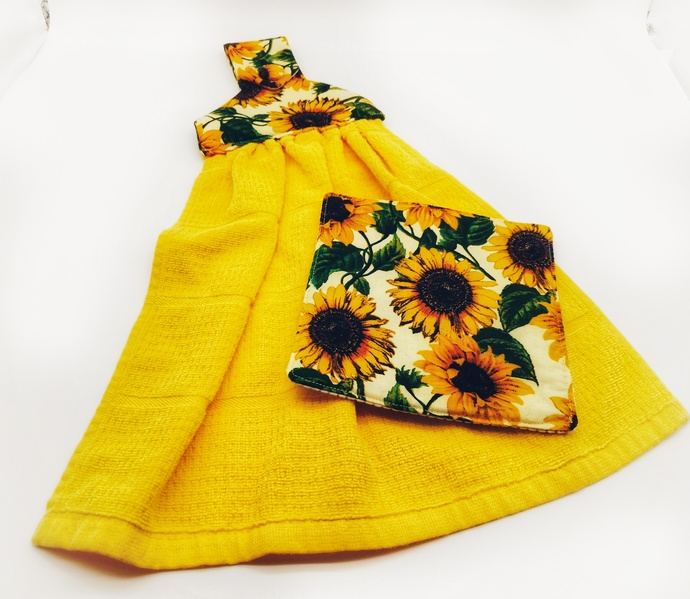 Sunflower Hanging Towel and Jar Opener, New Home Gift Set