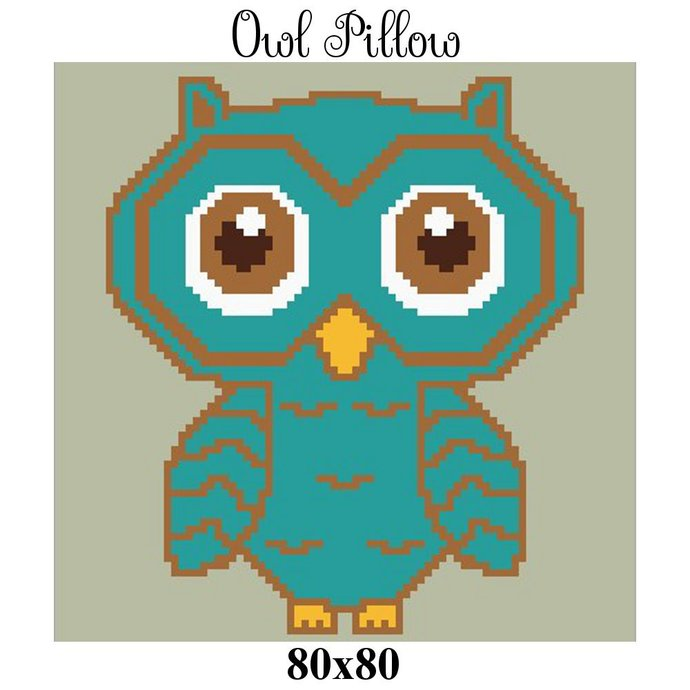 Owl Pillow Crochet Graph Pattern