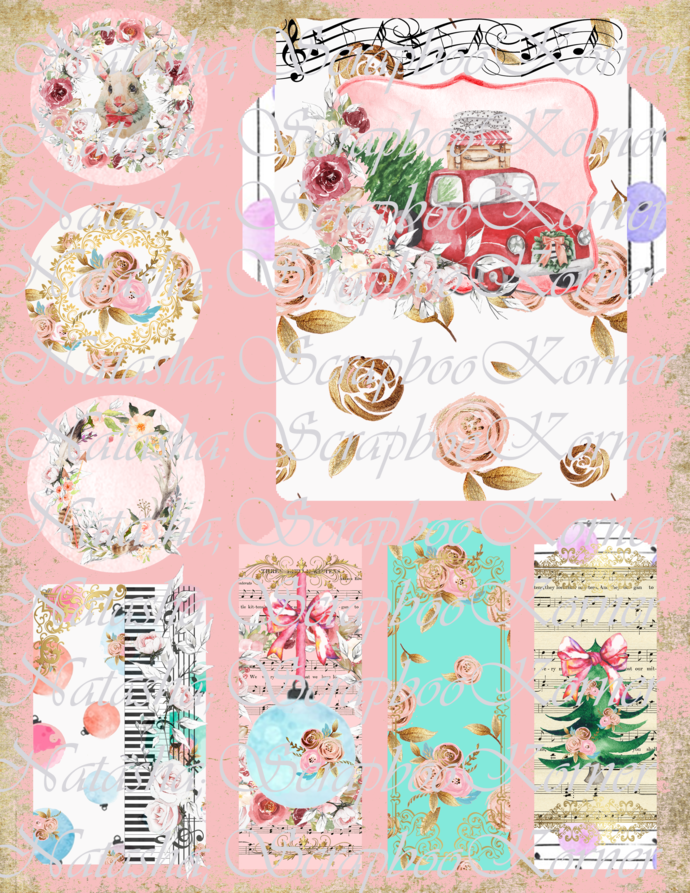 Shabby Chic Christmas FULL DIGITAL PRINTABLE PAPER COLLECTION Junk Journal,
