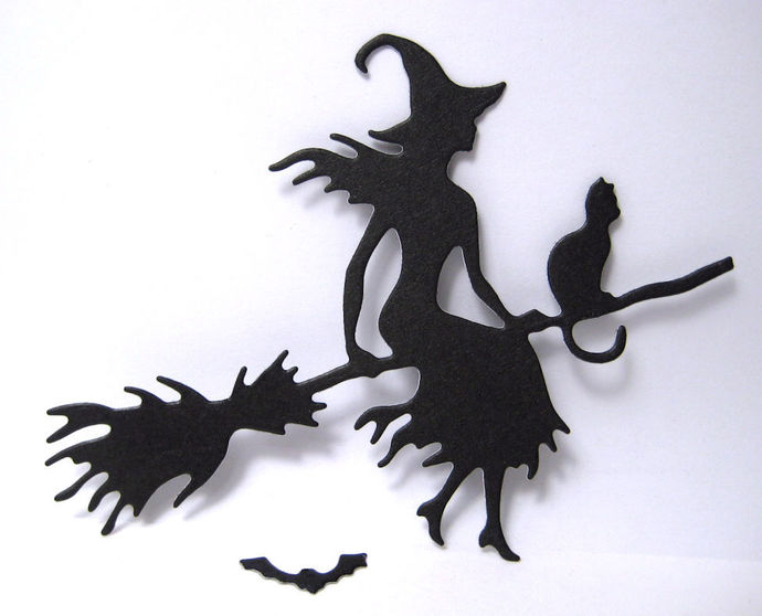 Witch Cat on Broom and Bat Metal Cutting Die Halloween Set