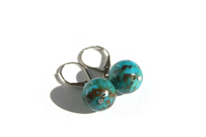Turquoise Sterling Earrings Genuine Kingman Arizona Turquoise 12mm Large Beads