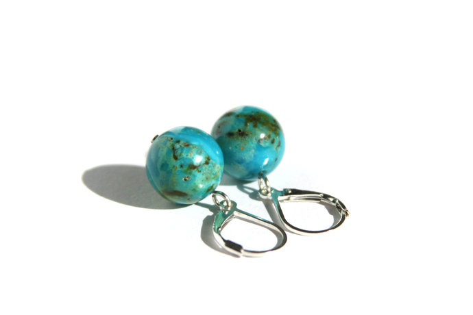 Turquoise Sterling Earrings Kingman Arizona Turquoise 12mm Large Beads Sterling