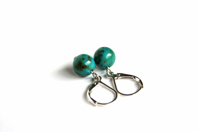 Turquoise Sterling Earrings Kingman Arizona Turquoise 8mm Small Sterling Silver