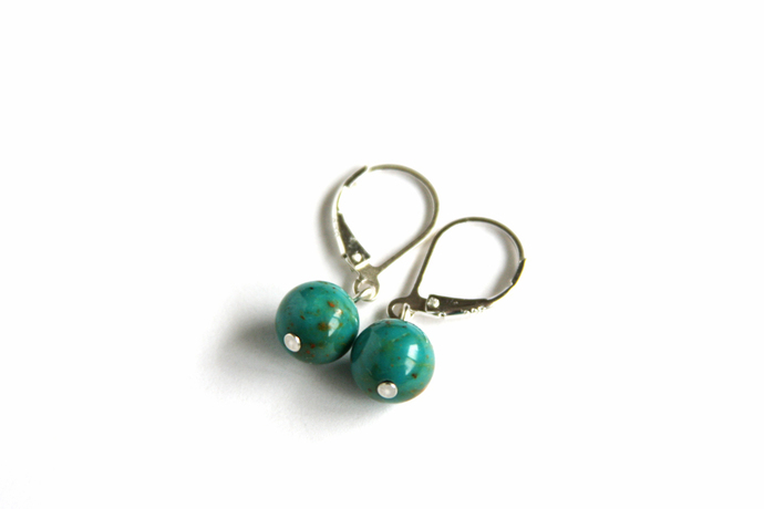 Turquoise Sterling Earrings Kingman Arizona 8mm Small Round Teal Blue Turquoise