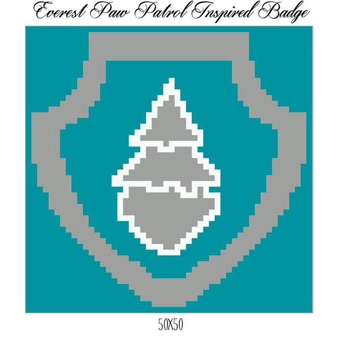 Paw Patrol Everest Badge Pillow Crochet Graph Pattern