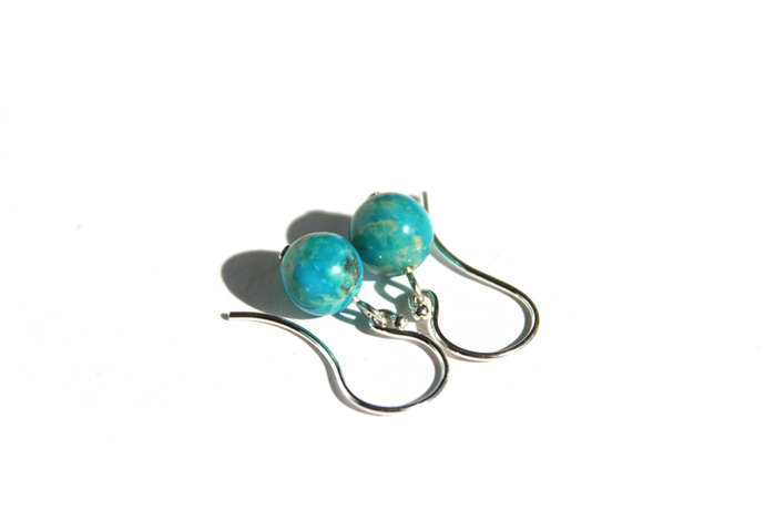 Turquoise Argentium Silver Earrings Kingman Arizona Turquoise 8mm Small Sterling