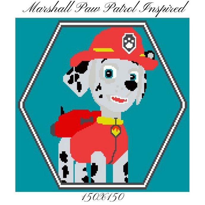 Paw Patrol Marshall Blanket Crochet Graph Pattern