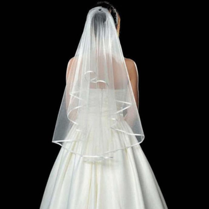 short wedding veil ribbon edge cheap bridal veil with comb 2020