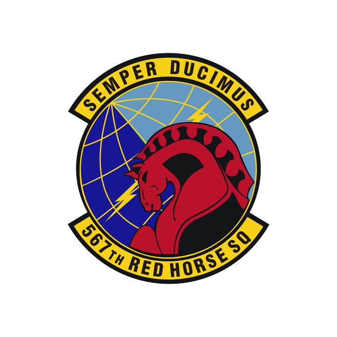 567th Red Horse Squadron Patch - Wall Decal - Variety of Sizes Available