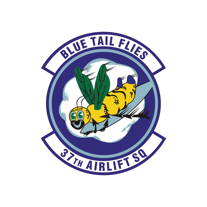 Blue Tail Flies 37th Airlift Squadron Patch - Wall Decal - Variety of Sizes