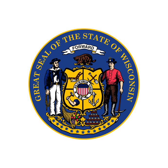 Great Seal of the State of Wisconsin - Wall Decal - Variety of Sizes Available