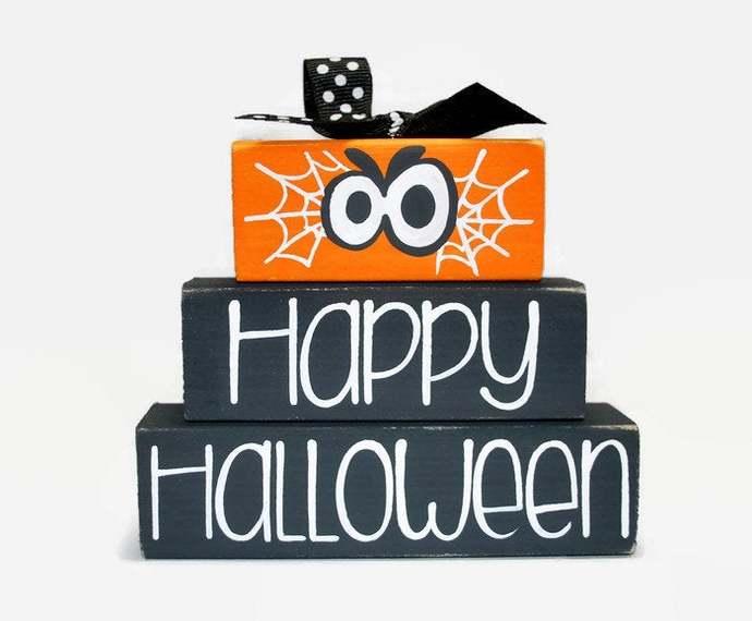Happy Halloween Web Creepy Eyes WoodenBlock Shelf Sitter Stack Orange Black