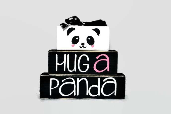 Hug A Panda WoodenBlock Shelf Sitter Stack