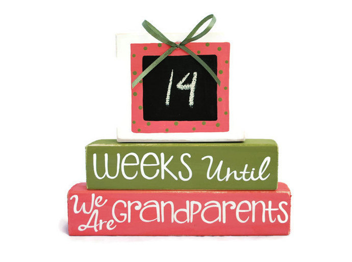 Weeks Until We Are Grandparents New Baby WoodenBlock Shelf Sitter Stack