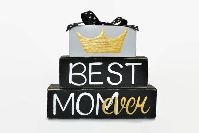 Best Mom Ever Mothers Day Crown WoodenBlock Shelf Sitter New Mom First Mothers