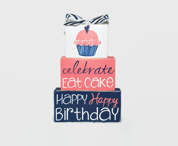 Happy Birthday Cupcake WoodenBlock Shelf Sitter Stack