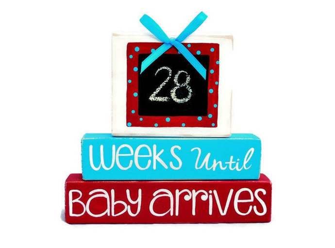 Weeks Until Baby Arrives WoodenBlock Shelf Sitter Stack