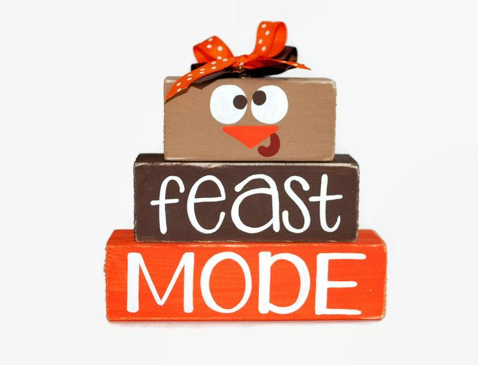 Thanksgiving Turkey Feast Mode WoodenBlock Shelf Sitter Stack