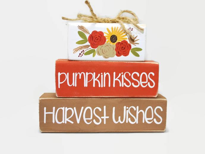 Fall Autumn Pumpkin Kisses Harvest Wishes WoodenBlock Shelf Sitter Stack