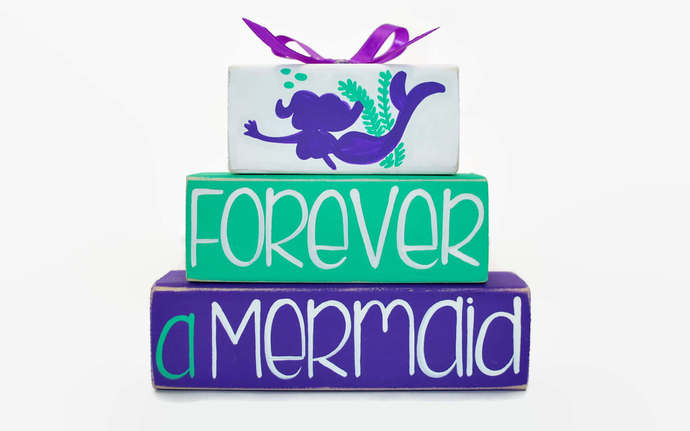 Forever A Mermaid Under the Sea WoodenBlock Shelf Sitter Stack