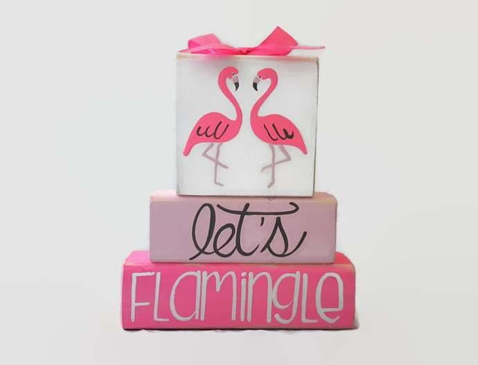 Flamingos Lets Flamingle Pink WoodenBlock Shelf Sitter Stack