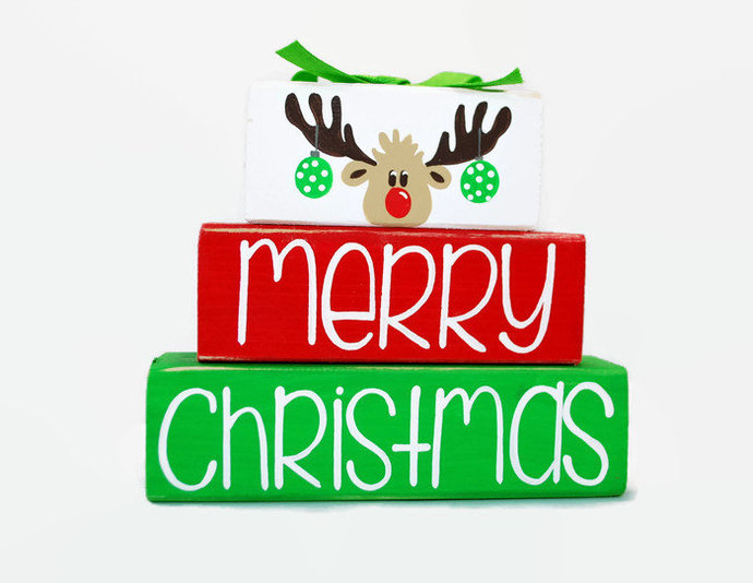 Merry Christmas Reindeer WoodenBlock Shelf Sitter Stack