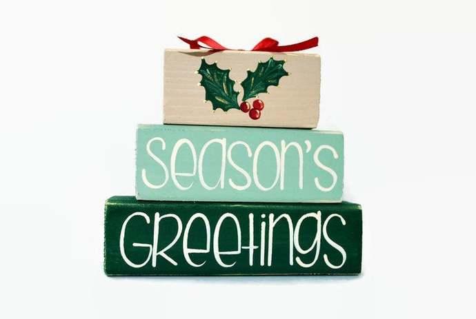 Christmas Holly Seasons Greetings WoodenBlock Shelf Sitter Stack mantel holiday