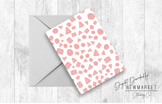 Printable Pink Abstract Polka Dot Card