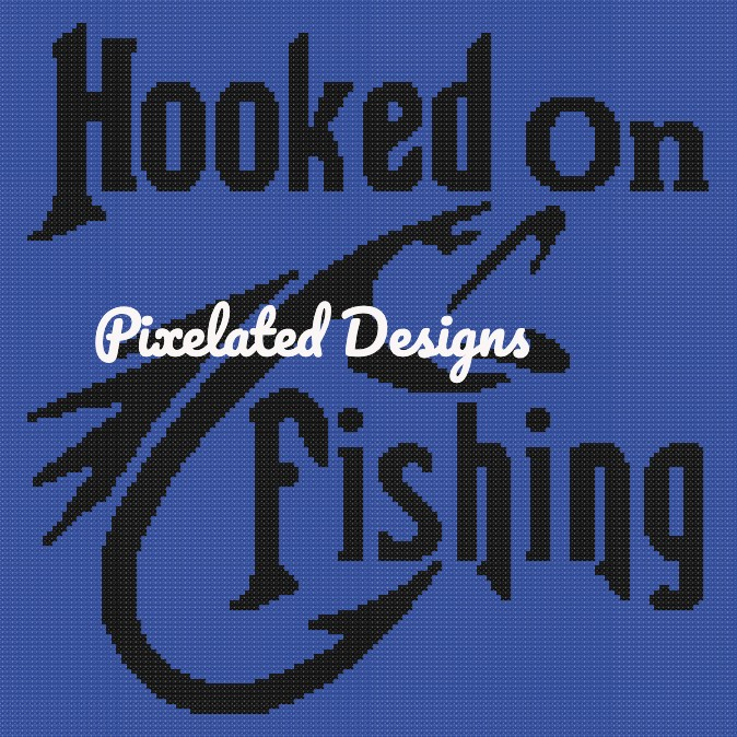 Hooked on Fishing - SC - 150x150 Lapghan - Graph w/Written