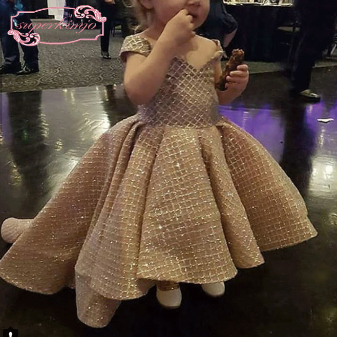 cheap flower girl dresses for weddings 2020 champagne sparkle kids prom gown
