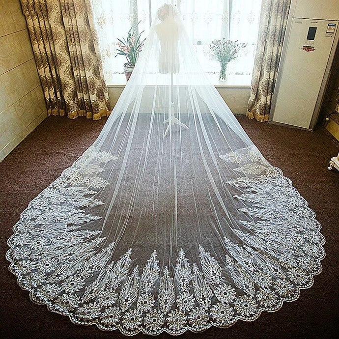 3.8 meter long wedding veil 2020 lace appliqué edge elegant cheap bridal veil