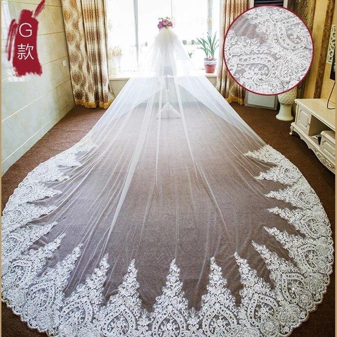 gothic bridal veils long 2020 lace appliqué edge elegant modest cheap wedding