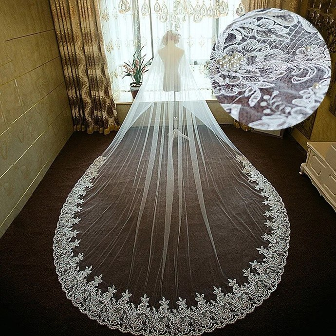 cheap bridal veils 2020 lace appliqué peals edge long wedding veil with comb