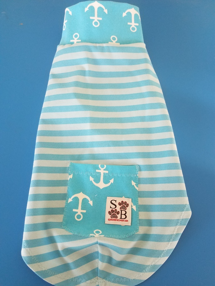 LARGE anchors n stripes cotton shirt