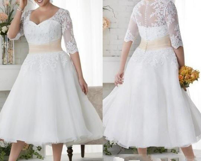 2019 New Plus Size Wedding Dresses Short Half Sleeves Wedding Gowns White Lace