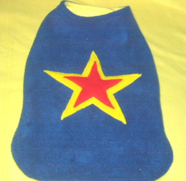 Fleece Dog Coat Vest Reversible Blue Superstar