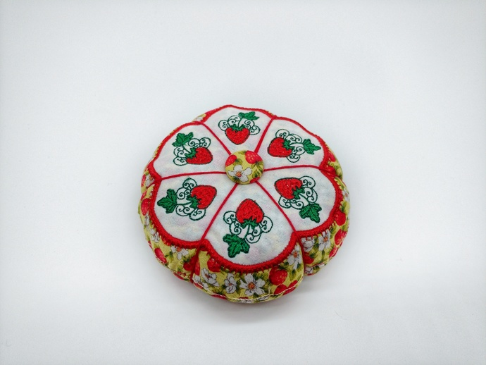 Strawberry Pincushion, Seamstress Gift, Sewing Accessory, Quilter's Gift