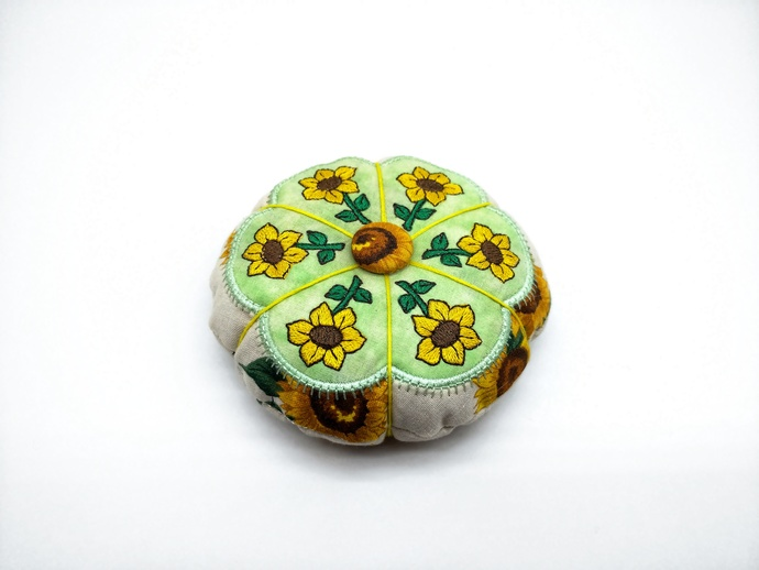 Sunflower Pincushion, Quilter's Gift, Pattern Weight