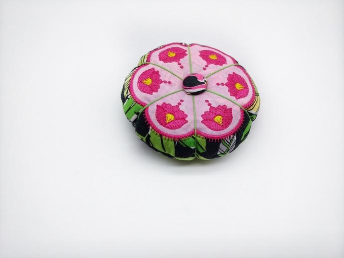 Tropical Flamingo Pincushion, Gift for Home Sewer, Flamingo Pin Keeper, Sewing