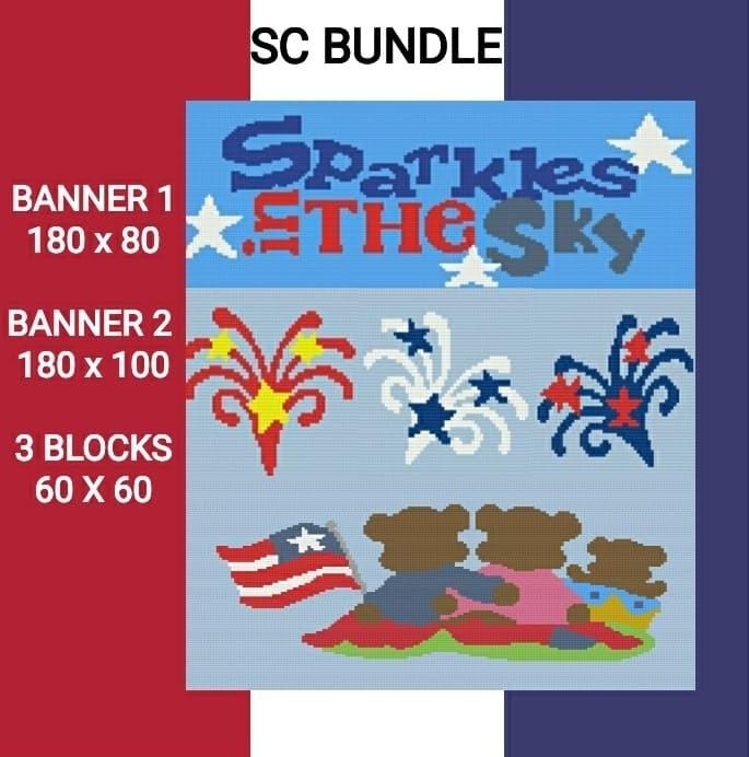 24 HOUR SALE  - Sparkles in the Sky SC 5 Pattern Bundle Graphs w/ Written Color